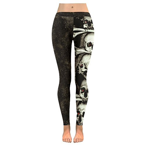 InterestPrint Day Of The Dead Human Skull Custom Stretchy Capri Leggings Skinny Pants For Yoga Running Pilates Gym XL (Skull Sweatpants)