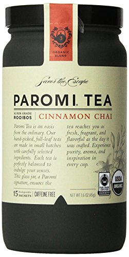 PAROMI TEA Cinnamon Chai Tea, Full-Leaf, 15-Count Tea Sachets, 1.6 oz Bottle