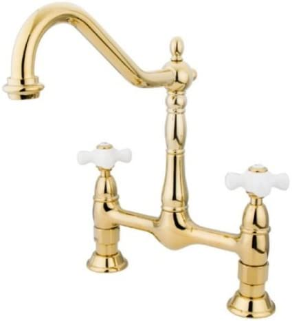Kingston Brass KS1172PX Heritage Kitchen Faucet without Sprayer, 8-1 2 , Polished Brass