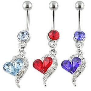 (Liroyal Blue Rhinestones Heart Dangle Surgical Steel Belly Navel Bar Ring)