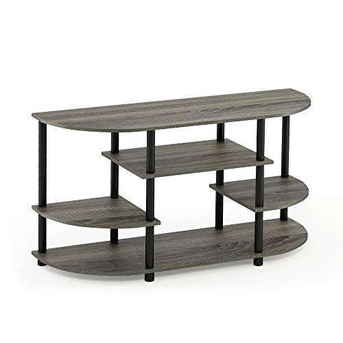- Furinno 15116GYW/BK Jaya Simple Design Corner TV Stand, French Oak Grey/Black, French Oak Grey/Black