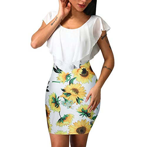 Women Dress, Tronet Sexy Womens Sleeveless Sunflower Printed Bodycon Holiday Party Short Mini Dress