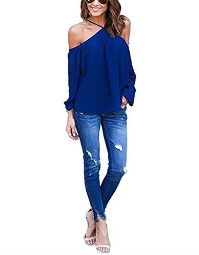 abd-womens-chiffon-off-shoulder-halter-neck-long-sleeve-shirt-blouse-top-navy-small-navy-blue
