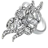 18K White Gold Plated Exaggerate Crystal Ring Elegant Jewelry Gift CZ Rhinestone LOVE STORY (6.5#)