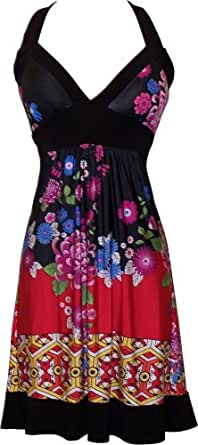 Asian Floral Halter Dress Knee-Length, 5X, Black-Red-Multi
