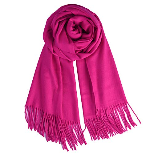 (QBSM Womens Hot Pink Large Soft Winter Wedding Party Evening Dress Pashmina Scarf Shawl Wraps)
