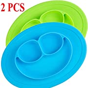 Pedo Shop Silicone Placemat Kids, Toddlers,Kitchen Dining Table Diner Portable Roll up Non Slip Washable Restaurant Food Mat Plate (Blue + Green)