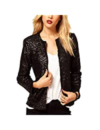 oboss Ladies Girl Sequin Glitter Crop Blazer Long Sleeve Business Party Suit Slim Fit Cardigan Bomber Jacket Coat
