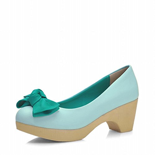 Latasa Womens Fashion Bow Round-toe Chunky Mid-heel Pumps Shoes Green