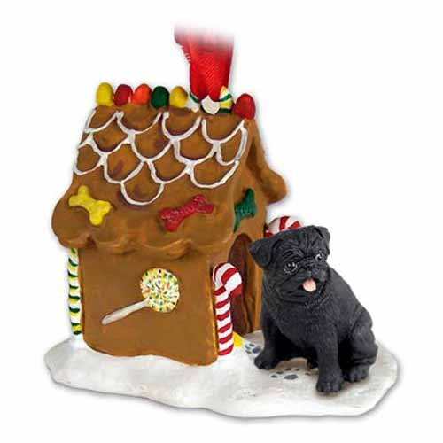- Conversation Concepts Pug Gingerbread House Ornament - Black