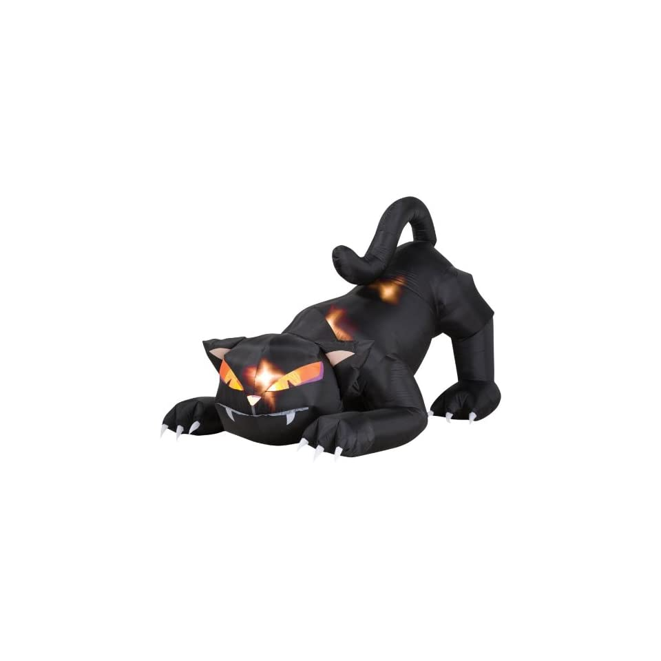 Black Cat with Turning Head Halloween Prop Animated