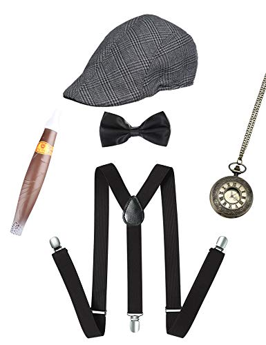 1920s Mens Gatsby Gangster Costume Accessories Set 30s Panama Hat Suspender (Gray Set C)
