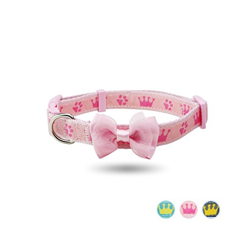 YUDOTE Pink Dog Collar, Adjustable Collars for Girls Small Medium Large Dogs & Puppies, Designer Cute Bowtie Collar, Neck 12.5