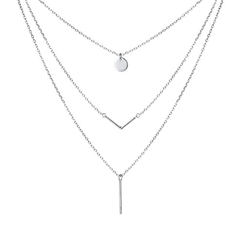 S925 Sterling Silver Triple Layer Pendant Choker Necklace for Women 16