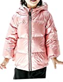 Cromoncent Boy Padded Hoody Metallic Sport Zip Pocket Down Jacket Parka Coat Pink 9T