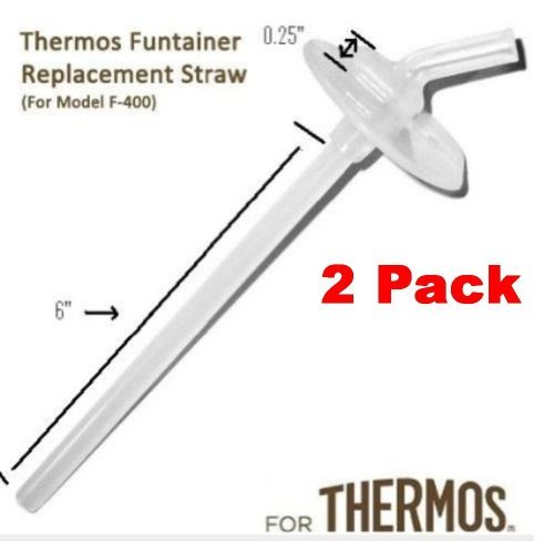 Thermos Funtainer Beverage Bottle Replacement Straw (2-pack) for F400 Cap (Read Carefully) This Is for the Thermos Without the Handle on the Lid (Thermos Foogo Lid Replacement compare prices)