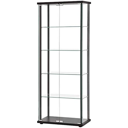 BOWERY HILL 5 Shelf Contemporary Glass Curio Cabinet with Black Ladder Frame by BOWERY HILL