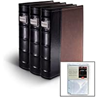 Bellagio-Italia Brown Leather Disc Storage Binder Perfect For CDs, DVDs, Blu-Rays, and Video Games. 3 pack includes 8 additional insert sheets. Set holds 176 discs total.