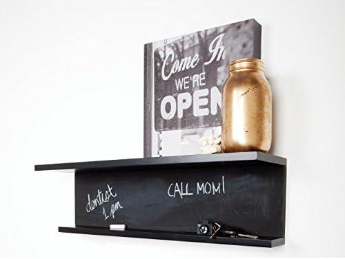 kieragrace Noto Black Wall Shelf with Chalkboard Feature, 6.75 by 24 by 6-Inch
