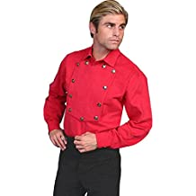 Scully Brushed Twill Cotton Bib Mens Shirt - Red