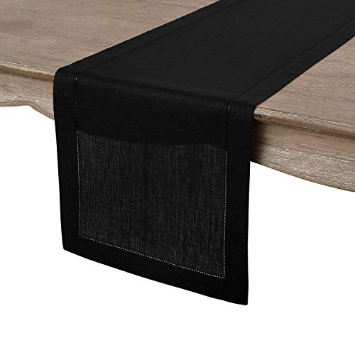 Solino Home Hemstitch Linen Table Runner - 14 x 48 Inch, Handcrafted from European Flax, Machine Washable Classic Hemstitch - Black (Black Table Runner)