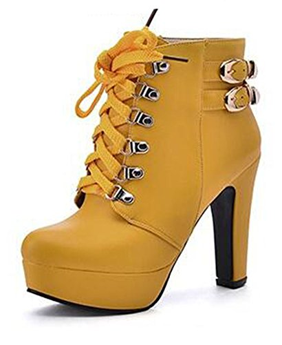 Women's Round Toe Platform High Heels Fashion Ankle Boots Yellow - 2