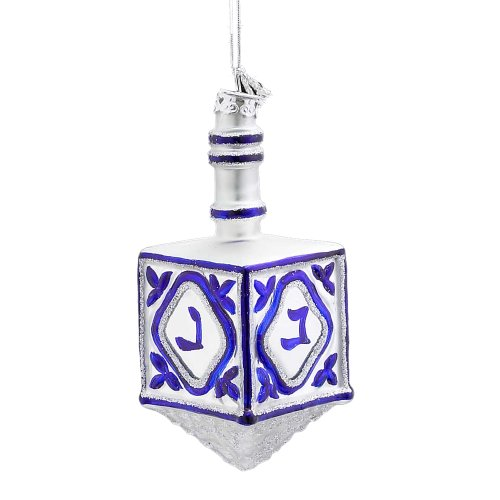 Noble Gems Kurt Adler 4-1/4-Inch Glass Jewish Dreidel Ornament -