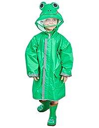 DAWNTUNG Kids Waterproof Rain Suit Relective Cartoon Lightweight Rain Coat