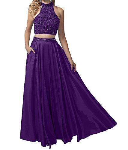Marie Satin Partykleider Abendkleider teilig Zwei Braut Langes Dunkel La Promkleider Lila Abschlussballkleider dwX80qdW