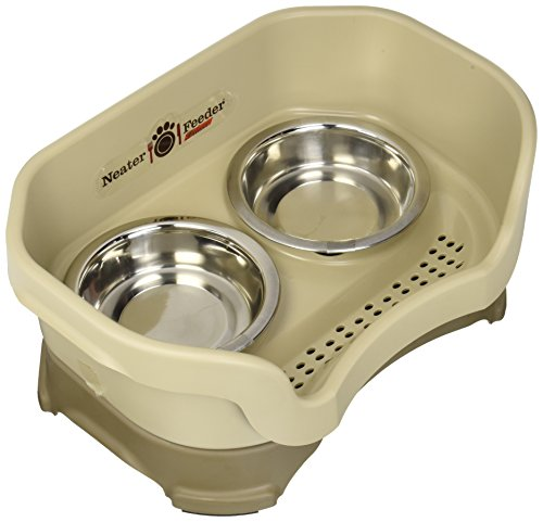 Image of Neater Feeder Deluxe Cat (Cappuccino) - Mess Proof Elevated Bowls, No Tip Non Slip, Stainless Steel Cat Food and Water Dish Stand