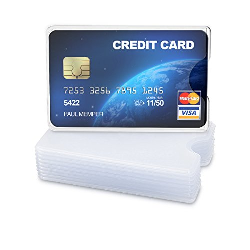 - kwmobile 10 Pieces Credit Card Sleeves - Soft Transparent Business Card Holder