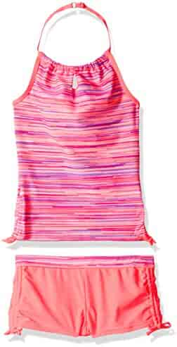 Free Country Big Girls' Striped Neck Halter with Side Adj Boy Short