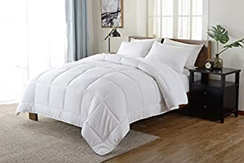 Down Alternative Comforter (White,King) - Quilted Comforter - Hypoallergenic, Plush Siliconized Fiberfill Duvet Insert - Baffle Box Stitched Exclusively by The Great American Store RN# 148186