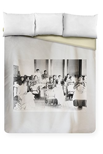 Agricultural and Mechanical College Sewing Photograph (88x104 King Microfiber Duvet Cover) by Lantern Press (Image #1)