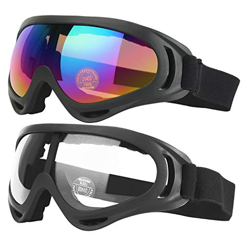 COOLOO Ski Goggles, Pack of 2, Snowboard Goggles for Kids, Boys & Girls, Youth, Men & Women, with UV 400 Protection, Wind Resistance, Anti-Glare Lenses (Black/Transparent)