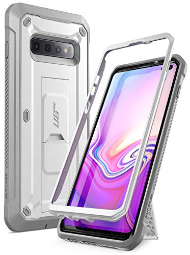 Samsung Galaxy S10 Plus Case, SUPCASE Full-Body Dual Layer Rugged Holster & Kickstand Case Without Screen Protector for Samsung Galaxy S10 Plus (2019 Release), Unicorn Beetle Pro Series (White)