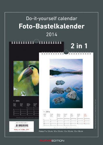 Foto-Bastelkalender 2014 2 in 1 schwarz/weiss datiert 21 x 29,7 cm, Bastelkalender 2014: Do it yourself calendar