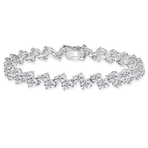 Sterling Silver Created White Sapphire 5x3mm Oval Wave Tennis Bracelet