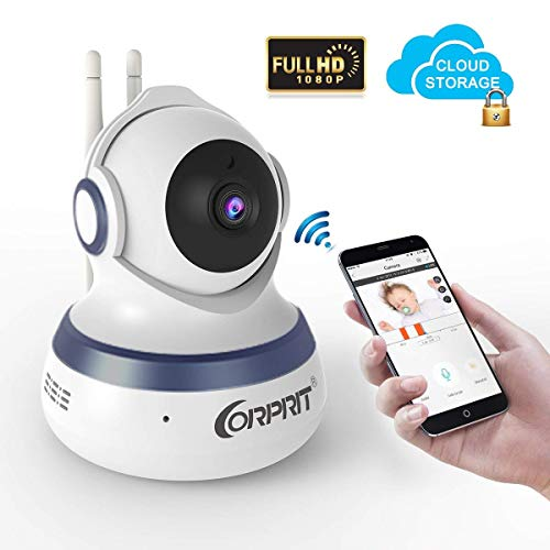 Wireless Security Camera, Corprit HD 1080P Baby Monitor Home Surveillance IP Came with Cloud Storage Night Vision, Pan Tilt, Two Way Talk by Android iOS App
