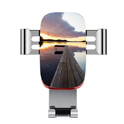 Metal Automatic car Phone Holder,Art,View of Sunset Over an Old Oak Deck Pier and Calm Water of The Lake Horizon,Adjustable 360 Degree Rotation, car Phone Holder Compatible with 4-6.2 inch Smartphone