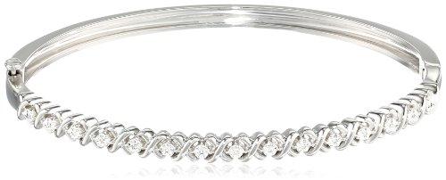 - Sterling Silver Diamond Bangle Bracelet
