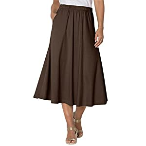 Woman Within Women's Plus Size 7-Day Knit A-Line Skirt Chocolate,1X