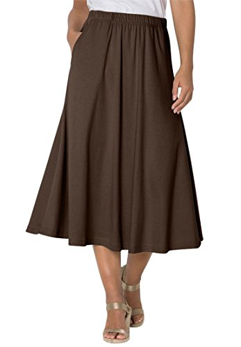 Women's Plus Size 7-Day Knit A-Line Skirt Chocolate,3X