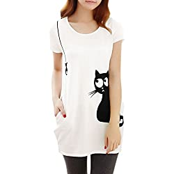 Allegra K Lady Round Neck Short Sleeve Cat Prints Loose Tunic Top S White