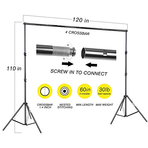 Emart Portable Photo Studio 9.2x10ft Background Support System with 3 Color Muslin Backdrops (Green Black White, 10ft X 12ft) for Portrait, Product Photography and Video Shooting by EMART (Image #1)