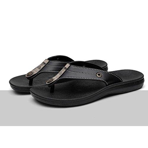 Casual Chancleta Zapatos de Libre Hombres Aire los Negro hibote Sandalias la al Hombres de Playa Zapatilla Deslizamiento en Plano Chanclas Verano de los Chanclas de de la de Cuero Chanclas zXzqw4O6R