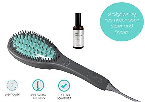 LUMA - Hair Straightening 3D Ceramic Brush + 3Oz Moroccan Argan Oil Serum