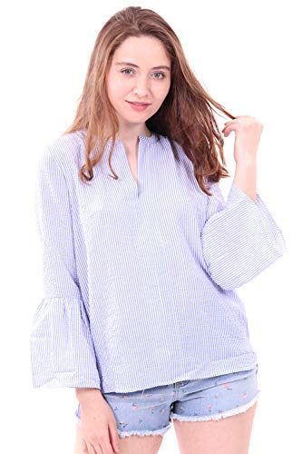 WuhouPro Womens Seersucker Bell Sleeve Poet Blouse-AZ-1500-BLUE-M