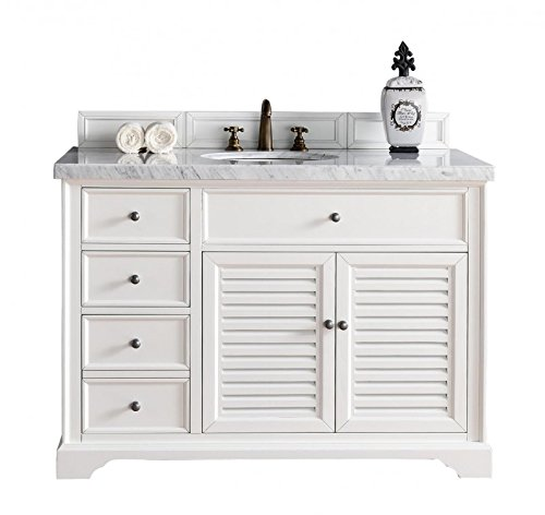 2-Doors Single Vanity with Carrara White Marble Top ()