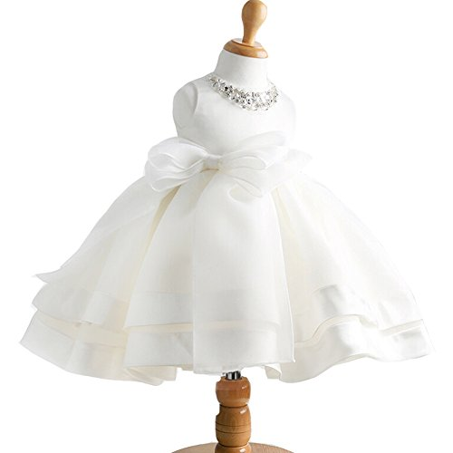 Baby White Dress (Baby Girl Dress Christening Baptism Gowns Sequined Formal Dress White 0-6 Months)